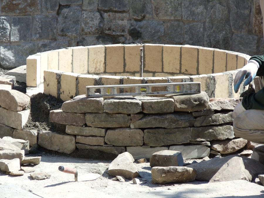 Hardscape installation sisson landscapes for Brick fire pit construction
