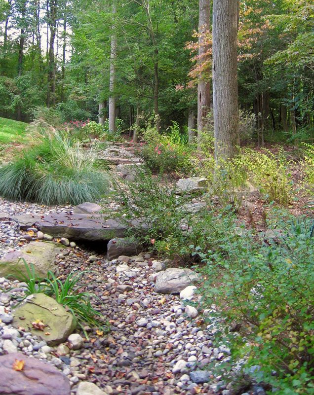 River Rock Garden Ideas Photograph | River Rock Swale