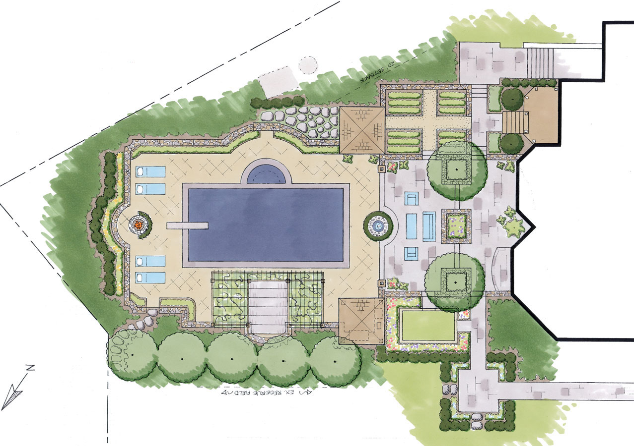 Master plans sisson landscapes for Pool and garden house plans